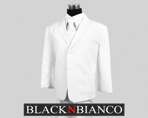 Boys White Suit with Tie dresswear Set | Black N Bianco