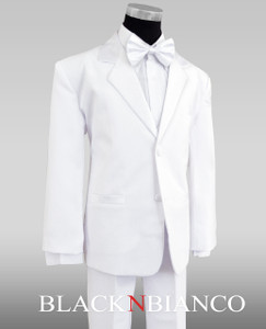 Boys White Tuxedo with a white bow tie
