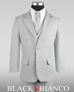 Boys Slim Modern Light Gray Suit.