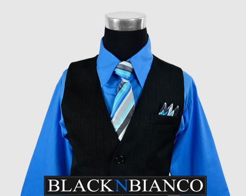 Boys Pinstripe Vest Suit Blue Shirt