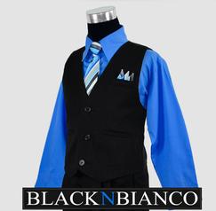 Boys Suit Black N Bianco Blue Shirt