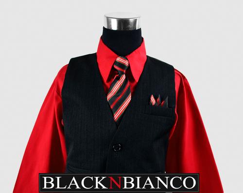 Boys Pinstripe Vest Suit Red Shirt
