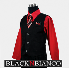 Boys Suit Red Shirt BLACK N BIANCO
