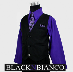 Boys Suits Pinstripe Purple