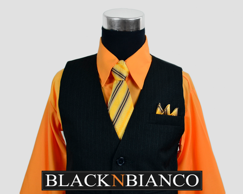 Boys Vest Suit with Orange Shirt
