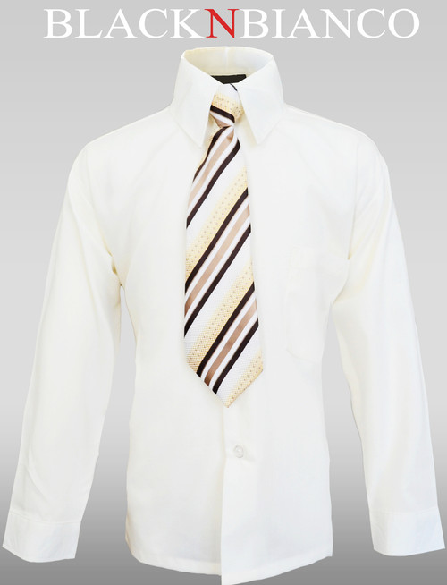 Boys Formal Ivory Shirt with a Striped Tie