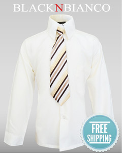 Black N Bianco Boys Ivory Dress Shirt