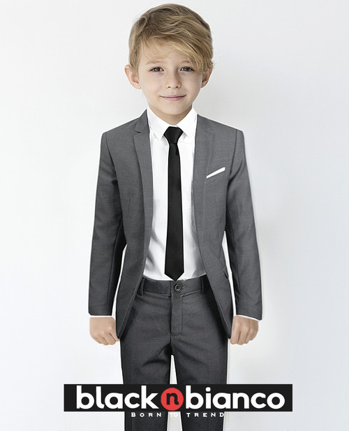 Black N Bianco Siganture Boys Grey Slim Fit Suit Complete Outfit