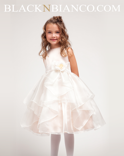 Ivory Flower Girl Dress with Ruffled Organza comes with Sash and ...
