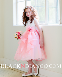 Layered Flower Girl Dress in white and Coral