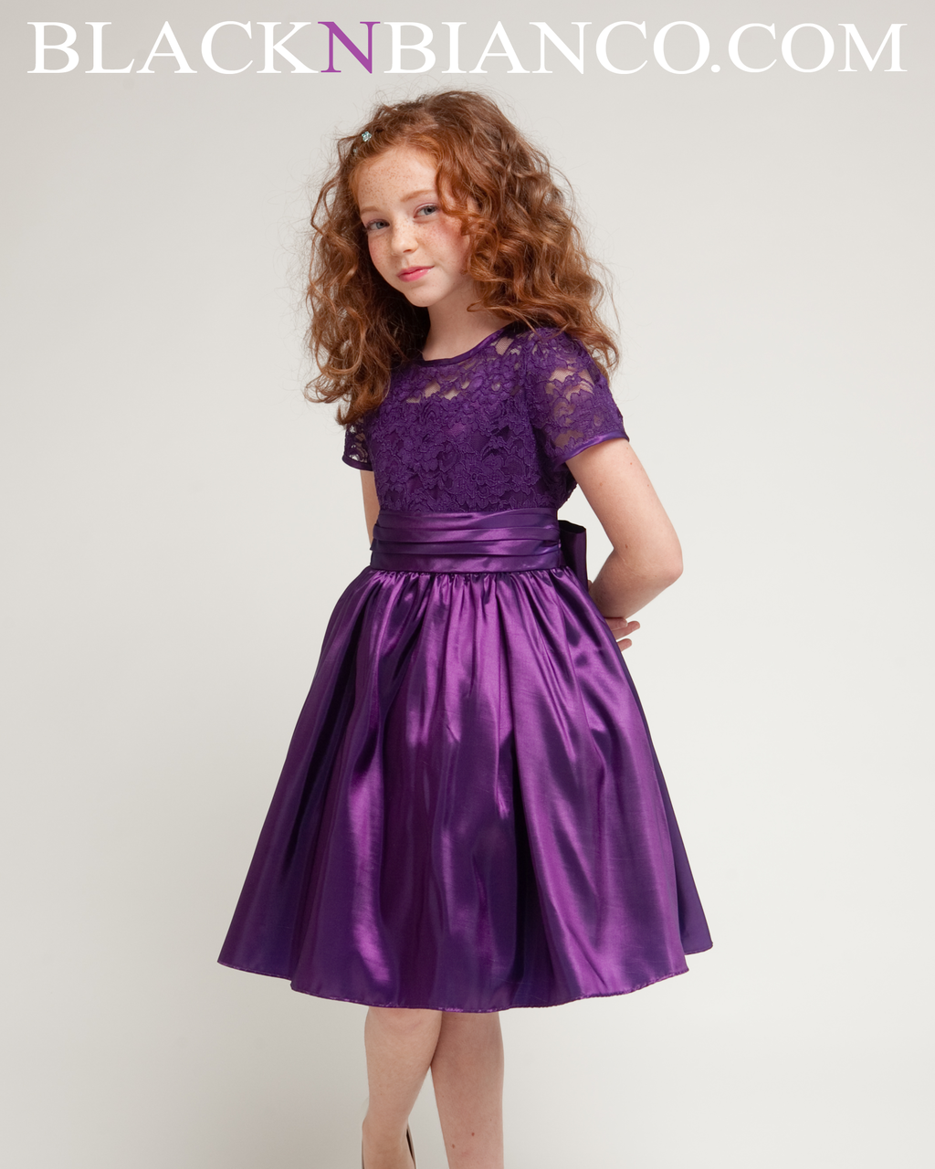 Purple Flower Girl Dress with satin lace sleeves Black N ...
