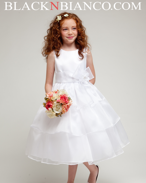 White flower girl dress heavenly style with three layered organza skirt white three layered flower girl dress black n bianco mightylinksfo