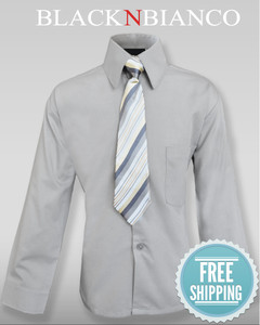 Boys Button down grey dress shirt.