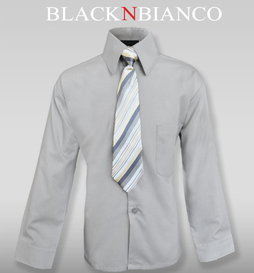 Boys Gray Dress Shirt by Black n Bianco