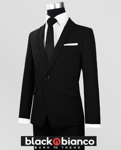 Boys Black Suit Slim Fit Dresswear Outwear Set - BLACK N BIANCO