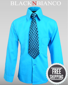 Boys Button Down Turquoise Dress Shirt with Tie