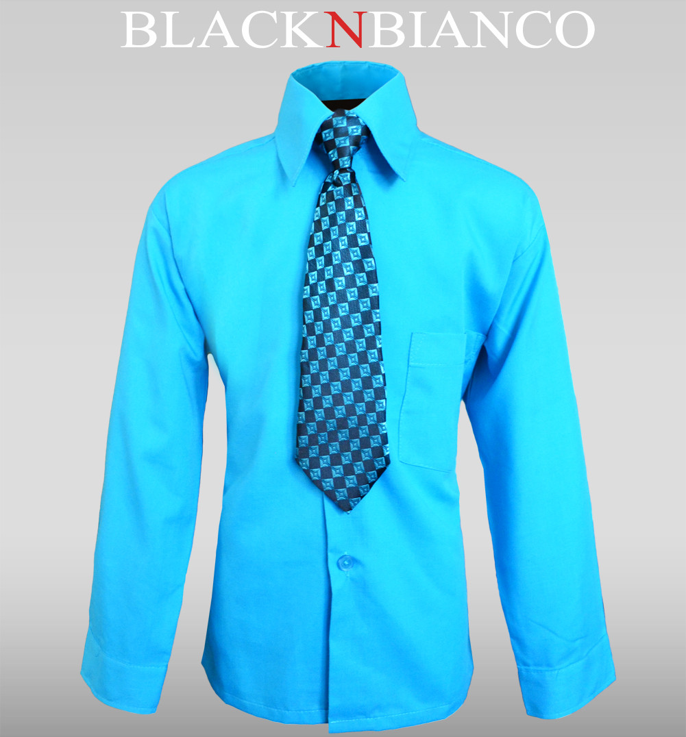 Boys Turquoise Shirt With Tie Outfit Black N Bianco