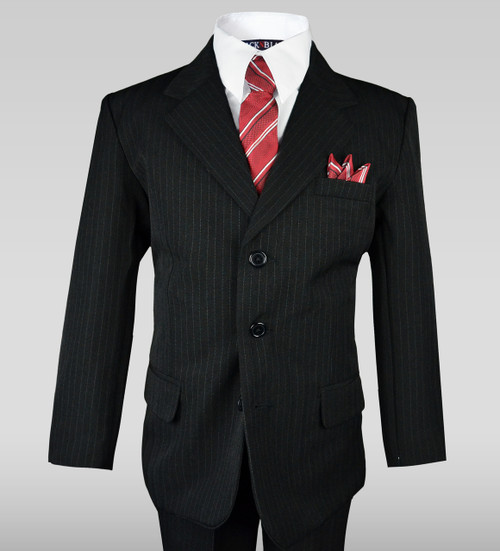 Boys Pinstripe Suit in Black with a Red Striped Tie