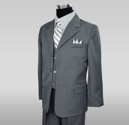 Boys Pinstripe suit in Grey