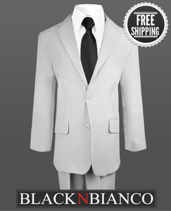 Boys Sharp and Modern Two Button Gray Suit with a matching Black Neck Tie