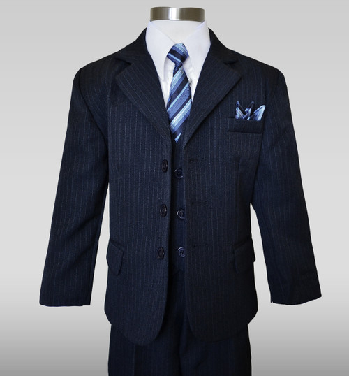Boys Dark Navy Pinstripe Suit Black n Bianco