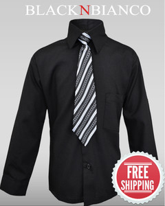 Boys Black Dress Shirt by Black n Bianco