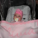 Liv loves her personalized stroller blanket from niks naks!