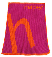 Personalized Stroller Blanket, Slanted Single Initial and Name