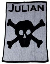 Personalized Stroller Blanket with Name and Skull and Crossbone
