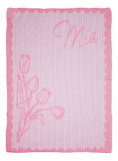Personalized Stroller Blanket, Tulips and Name