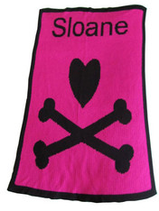 Personalized Stroller Blanket, Heart and Cross Bone