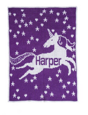 Personalized Stroller Blanket, Unicorn and Stars