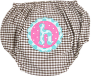 Personalized Diaper Cover, Brown Gingham