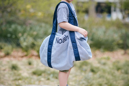 Photo Credit: Russell Starr at Starr Digital. Bag Shown with Navy Accent in Designer Font.