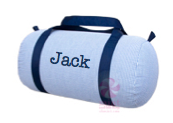 Duffle Bag, Personalized Navy Seersucker