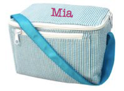 Lunch Box, Personalized Aqua Seersucker