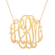 Script Monogrammed Cut Out 3 Letter Necklace