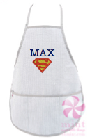 Apron, Personalized Grey Seersucker
