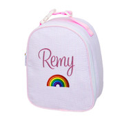 Gumdrop Lunch Bag, Personalized Pink Seersucker