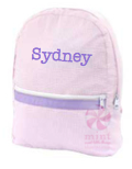 Small Backpack, Personalized Princess Pink Seersucker with Purple Trim