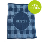 Personalized Stroller Blanket, Gingham and Name