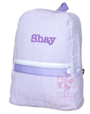 Small Backpack, Personalized Lavender Seersucker