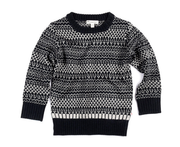 Fair Isle Sweater, Black and Grey