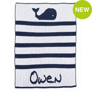 Personalized Stroller Blanket, Whales and Stripes