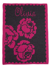 Personalized Stroller Blanket, Peony & Name