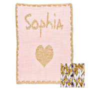 Personalized Stroller Blanket, Metallic Heart