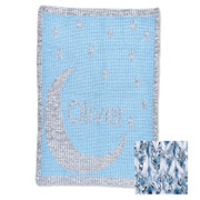 Personalized Stroller Blanket, Metallic Moon and Stars