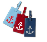Leather Luggage Tag with Anchor Icon, Add Personalization