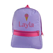 Small Backpack, Personalized Lavender with Hot Pink Trim