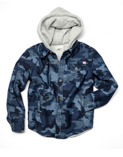 Appaman Camo Blue Hooded Shirt